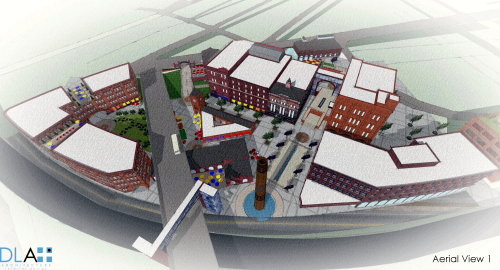 3-D rendering of the Iron City Brewing redevelopment. Rendering by DLA+ Architecture.