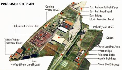 The site plan for the proposed polyethylene complex. Image courtesy Shell Chemicals.