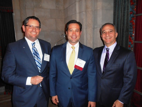 (From left) Bill Taxay, Brian Walker and Angelo Martini Jr. having fun at NAIOP Pittsburgh's holiday party Dec. 3.